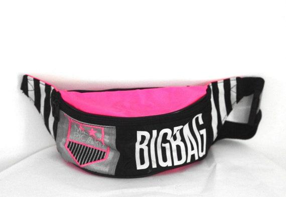 Vintage hip sack fanny pack neon pink black white
