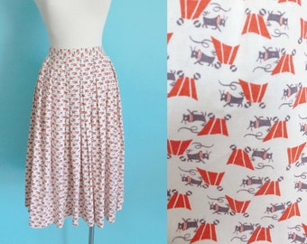 "1950s Stagecoach Novelty Print Western Skirt | 24"" inch waist"
