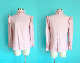 1980s Pink Prairie Ruffle with Blouse Button Up Back | Large