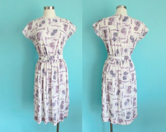 1960s Rose Print Nylon Jersey Dress | Size Small