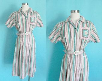 "1940s Pink Striped Dress by Wildman Original | Size Small 28"" in Waist"