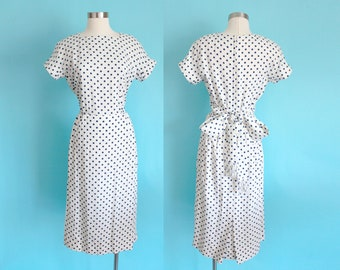"""1960s White Polka Dot Linen Dress with Fringed Back Bow Tie by Bennett's 