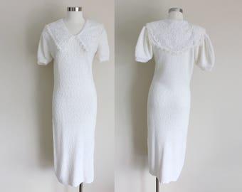 1980s Gunne Sax Dress | White Sweater Dress | Knit Dress | Jessica McClintock | Medium