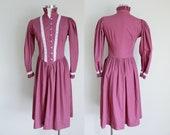1970s Dark Mauve Puff Sleeve Prairie Dress Gunne Sax Style Small