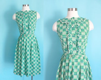 "1950s Green Diamond Print Harlequin Dress by Jean Roberts | 24"" inch waist"