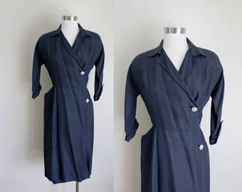 1940s Dress | Navy Dress | Wrap Dress | Wiggle Dress | Secretary Dress | Swing Dress | R&K Original | Small