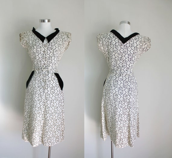 1950s Lace Wiggle Dress with Velvet Collar | Hourg