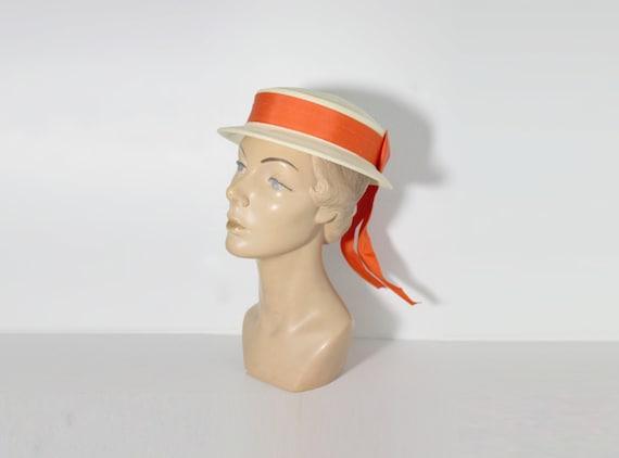 1950s Hat | Boater Hat | Straw Hat | Madeline Hat
