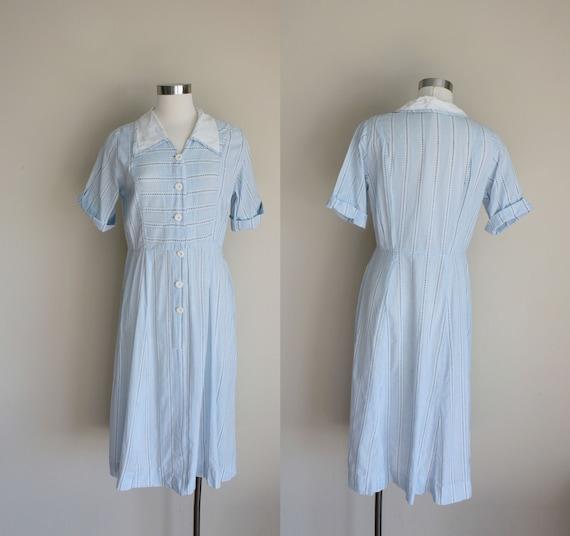 1950s Blue Gingham Dress    Medium