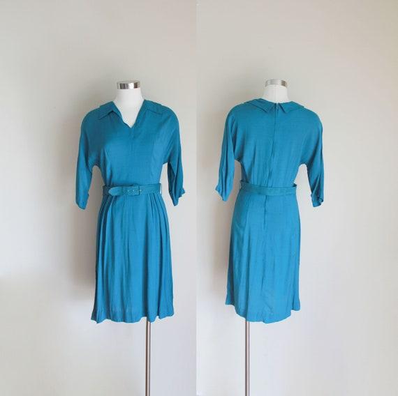 1950s Dolman Sleeve Teal Dress by Dream Dress   26