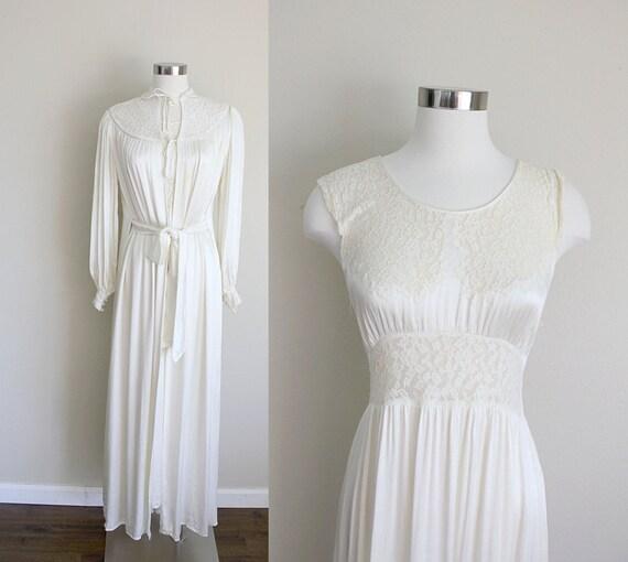 1940s Bridal Lingerie | Peignoir Set | Ivory Lace