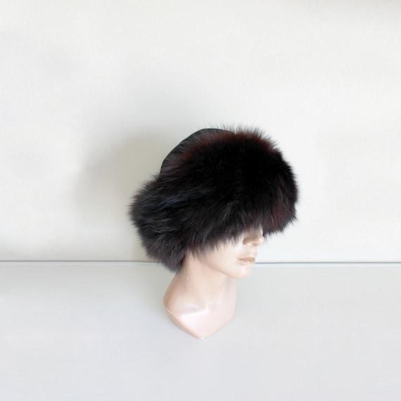 1980s Black Suede Cossack Fur Hat