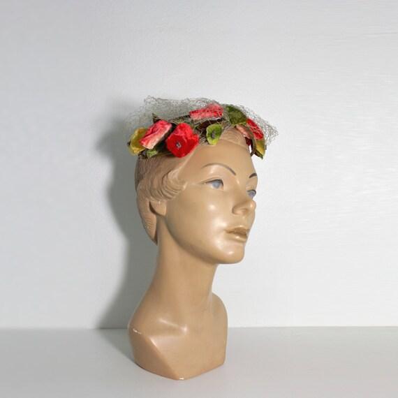1950s Floral Fascinator | Half Hat