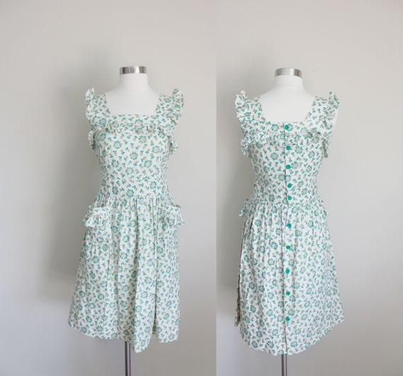 1940s Floral Pinafore Dress | Small