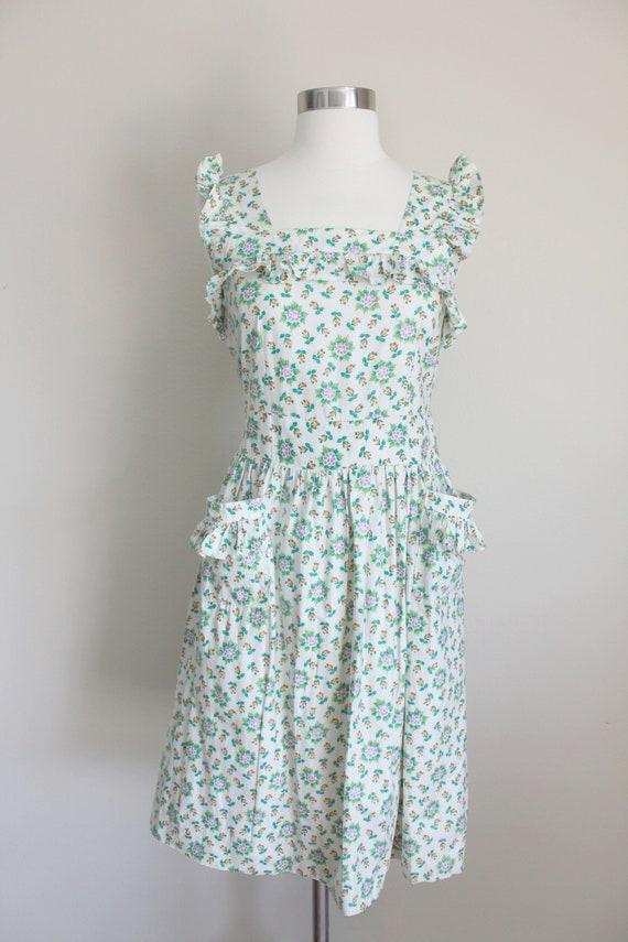 1940s Floral Pinafore Dress   Button up Back Dres… - image 2