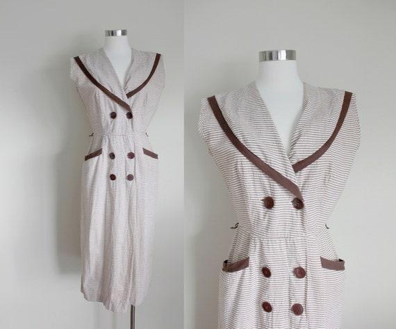 1950s Brown Striped Seersucker Sailor Dress | Stri