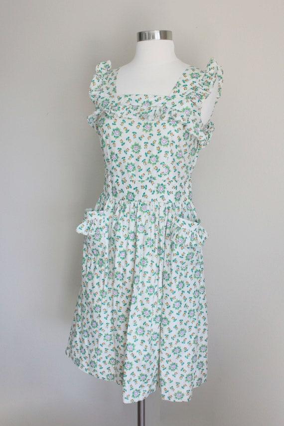 1940s Floral Pinafore Dress   Button up Back Dres… - image 6