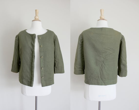 1950s Jacket | Olive Green Cardigan | Wool Jacket