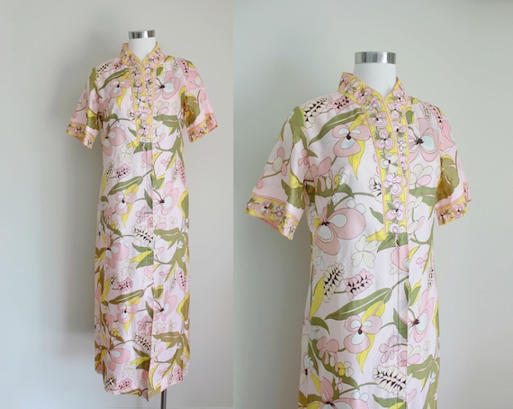 1960s Mod Pink Floral Dressing Gown by Loungees |