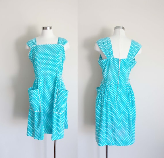 1950s Baby Blue Polka Dot Sundress | Large
