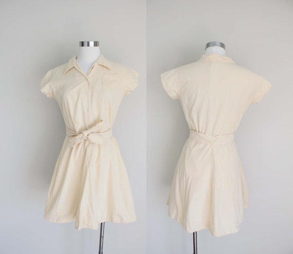 1950s Buttercream Yellow Gym Suit Dress and  Short