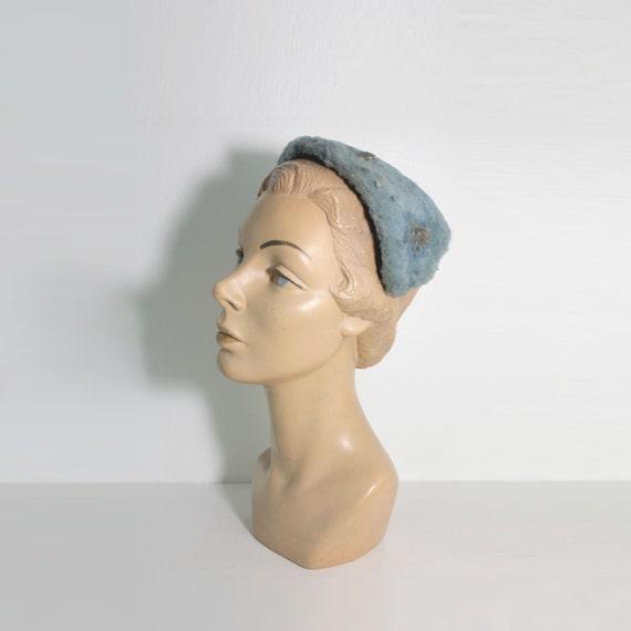 1950s Blue Rhinestone Half Hat by Gimbel Brothers