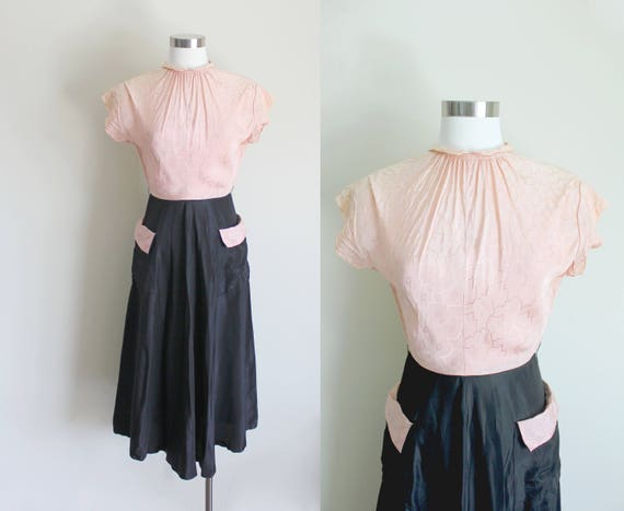 1940s Evening Dress   Two Tone Dress   Colorblock