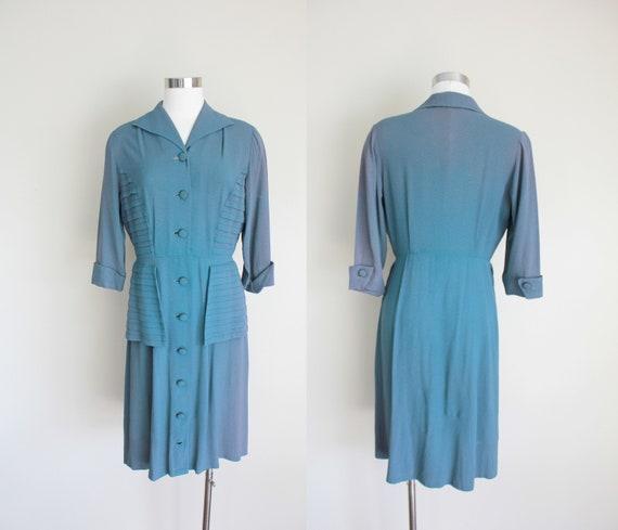 "1940s Dark Teal Green Dress   28"" in Waist"