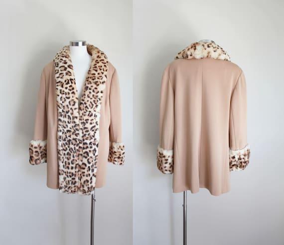 1960s Lilli Ann Leopard Print Knit Coat | Fur Trim