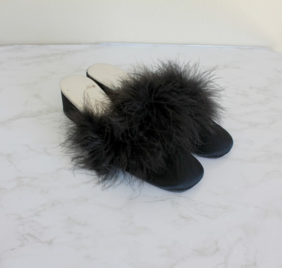 1950s Black Feather Trim Boudoir Slippers | Size 5