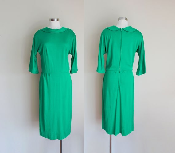 "1960s Green Cowl Dress by Pat Primo | 28"" inch wai"