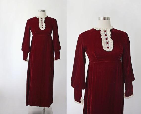 1960s Red Velvet Maxi Dress | Bishop Sleeve | 1930