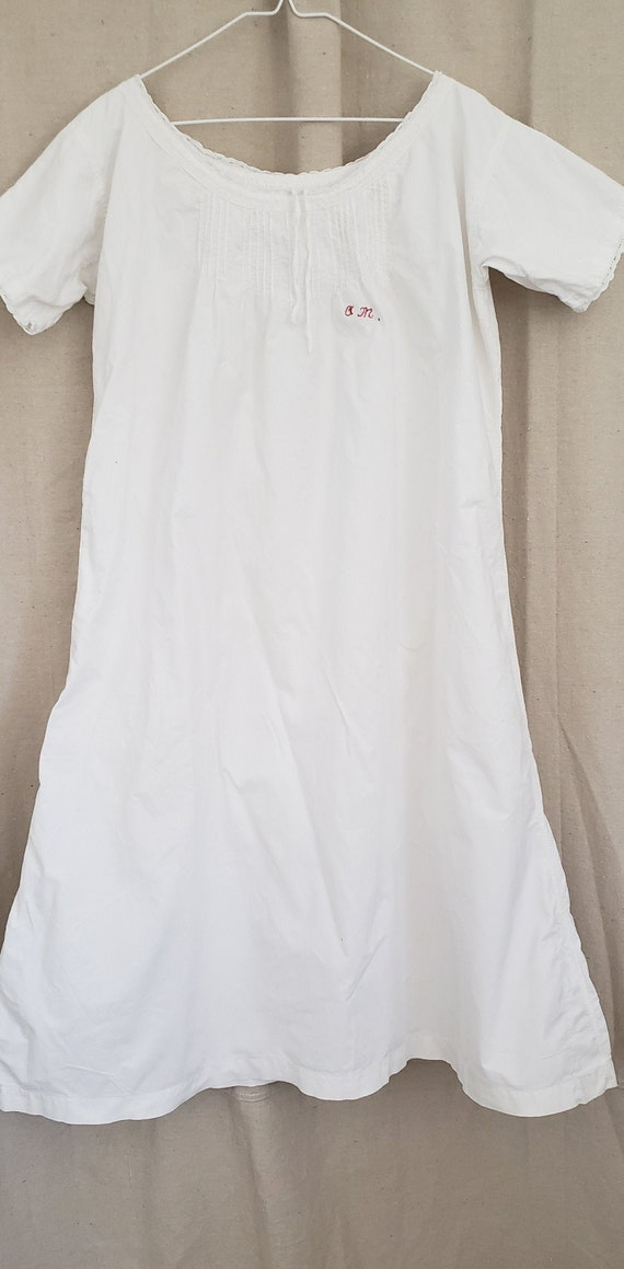 Antique French White Cotton Nightdress