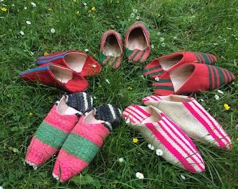 Babouche - Kilim Slippers - Green Pink - Black White