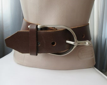Leather Belt with Imitation Stirrup Buckle