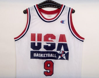 67f6389821f5cb 90s CHAMPION JORDAN USA Jersey  9 Dream Team 1992 Olympic Shirt Size Extra  Large 48