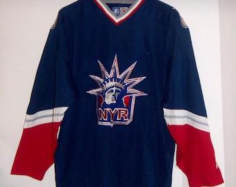175a82c35 90s NEW YORK RANGERS Vintage  Liberty  Starter Blue Hockey Jersey Size Large
