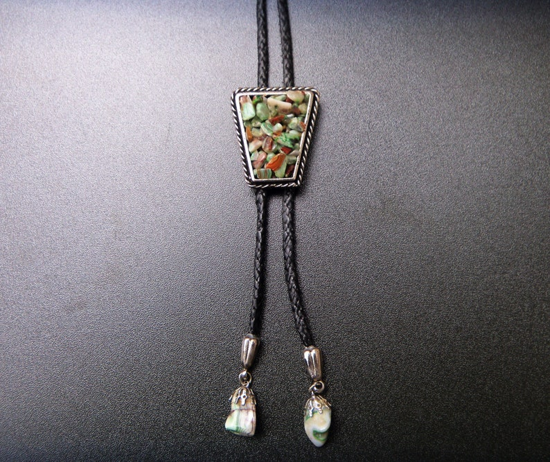 Bolo Tie Stone Chips Natural Rockabilly Hand Made Western Trapeze Shape Country