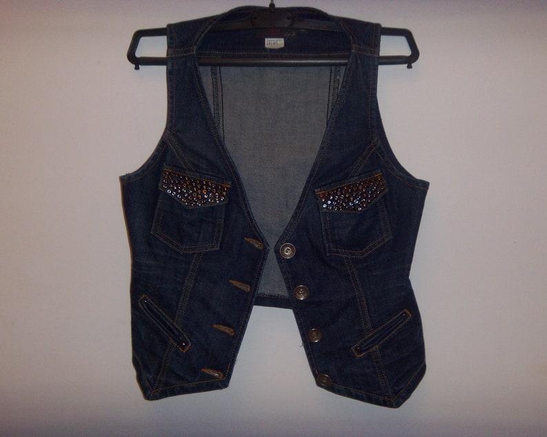 best website 3dffa b20e0 Strutturando da Liu • Jo donne Jeans firmati gilet Denim taglia 42 Made in  Italy