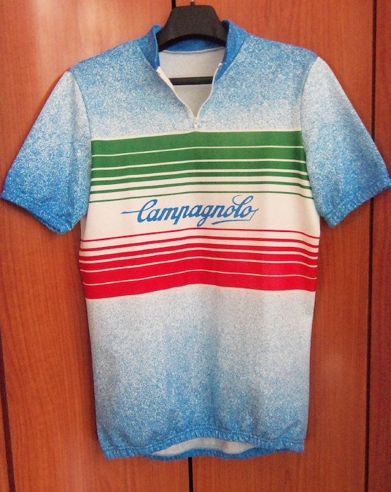 Vintage CAMPAGNOLO Cycle Jersey RAINBOW Rare Cycling 40% COTTON Mid Season  Made in Italy Size 5 a8ad2a416