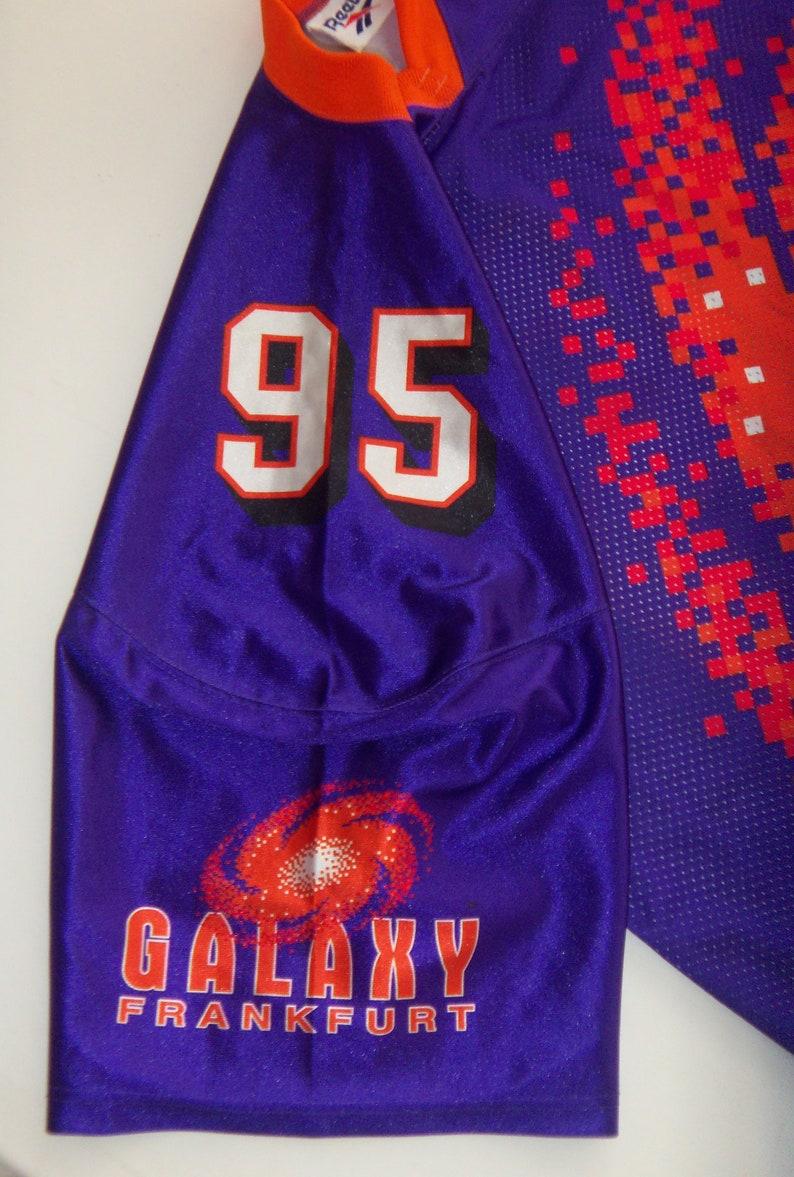 09267e2f2bcbf 90s Frankfurt Galaxy Jersey Reebok World League American Football Pro Team  Shirt #95 NFL Europa