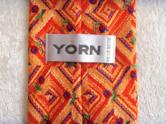 YORN Silk Tie Boutique Chic Necktie Geometric Pat… - image 6