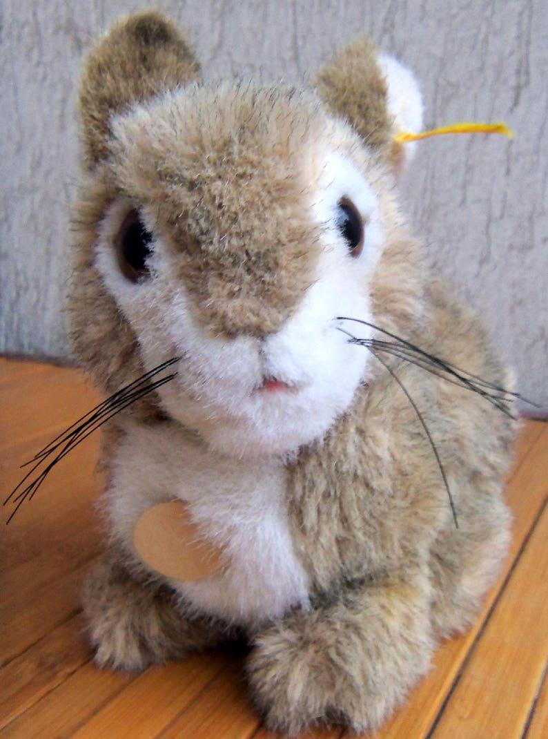 Vintage STEIFF Dormili Rabbit Sitting Cuddle Bunny Button Flag Chest Tag