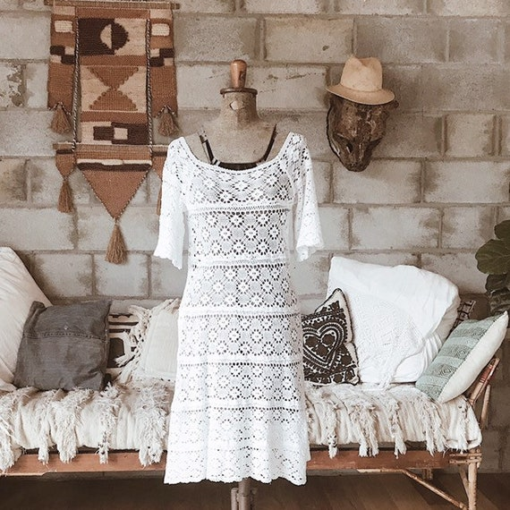 1970s crochet lace mexican wedding dress