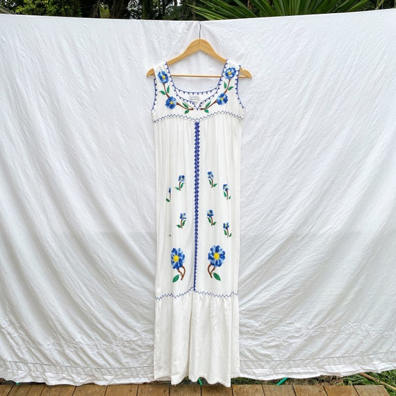 1970s cotton folk embroidered maxi dress