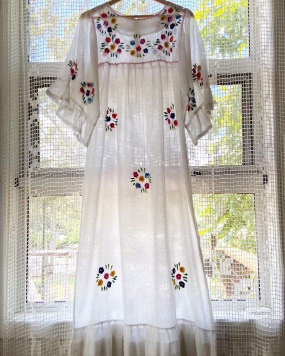 1970s folk embroidered  cotton maxi dress