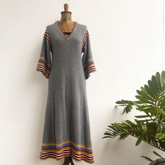 Vintage 1970s south western knit sweater dress