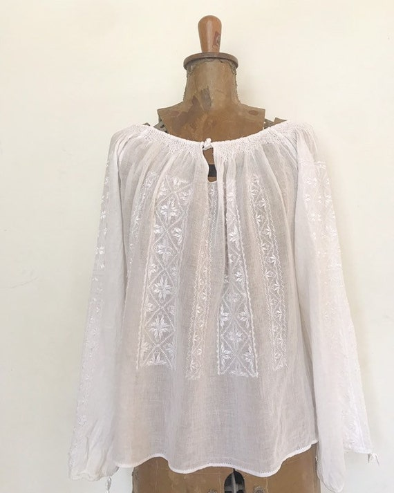1970s romanian folk embroidered sheer gauze peasan