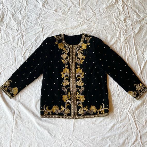 Black velvet beaded embroidered jacket.