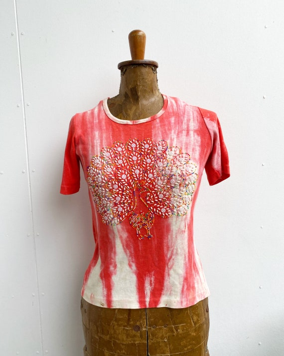 1970s tie dye beaded peacock t shirt